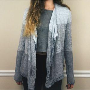 Lou & Grey blue color block open front cardigan